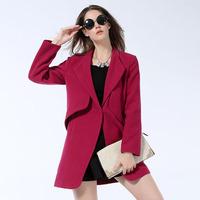2014 New Fashion Women Brief Design Single Button Plus Size Woolen Coat for Women Winter Overcoat