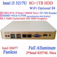 Aluminum and Fanless Mini PC with Intel I3 3217U Dual Intel 82574L Nics TF SD Card Reader HDMI VGA PXE WOL with 8G RAM 1TB HDD