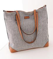 Promotion women big tote bag canvas bag + leather designer shoulder bag for ladies casual kipping women bags canvas shopper