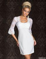 Wholesale Free Shipping White Sexy Half Sleeve Fashion Dress Women Lace  Midi Dress
