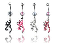 New Style Anillos ombligo Cute Jewelry 14G 316L 4pcs MONSTER  Browning Deer Navel Belly Rings anneaux nombril