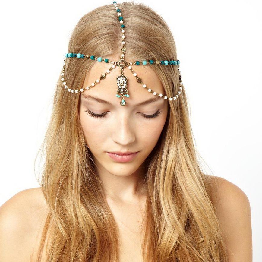 New 2014 Fashion Luxury Retro Sweet Rhinestone Colorful Beads Hairband Headwrap Hair Accessory Headwear For Women Bride Wedding(China (Mainland))