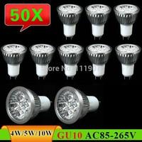 50 pcs GU10 4W 5W 10W LED Spot Light Bulb Lamp AC85~265V White/Warm White Spotlight Free Shipping
