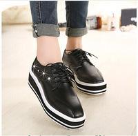 New 2014 women platform sneakers for brand wedge female running platform Rubber lace up Rivet shoes J3482