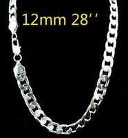 5pcs wholesale 925 Silver Silver 12mm necklace for men 28 inch Free shipping ,925 sterling silver chain necklace FASHION men