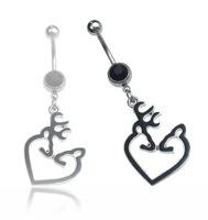 New Style Anillos ombligo Cute Jewelry 14G 316L 1pcs Browning Deer Navel Belly Rings anneaux nombril