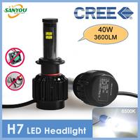 2014 New 1 Set 40WX2 3600LMX2 H7 CREE XT-E LED All in One Headlamp Auto Fog Lights 5000K 6000K 8000K H4/H11/9005/9006