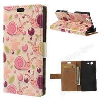 Free shipping 10pcs/tvc-mall Leather Stand Case for Sony Xperia Z3 Compact D5803 M55w