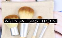 2014 New Arrival 4pcs Bamboo Elaborate Handle Hessian Bags Brush Sets Loose Paint Makeup Cosmetic Brushes wf-5081
