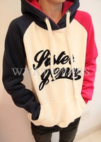 Free Shipping Womens Hooded Pullover Letter Printed Embroidery Fleece Casual Hoodies 2 Colors [4 70-1742]
