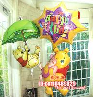children's birthday suit aluminum foil membrane cartoon winnie the pooh ball balloon helium balloon creative gift