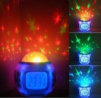 Pretty Multi Function Colorful Light Music Alarm Clock Desktop Clocks Starry Star Sky Projection Alarm Clock Thermometer