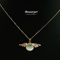 Beautyer Jewelry Rose Gold Plated Cat Eye Angle Wing & Love Pendant Necklace High Quality Women Collarbone Necklaces BXL60