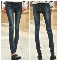 new fashion spring autumn 2014 plus size casual skinny jeans women long denim pencil pants