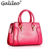 2014 New Women candy color handbag cchannelld plaid patent leather totes party vintage shoulder bag