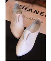 soft leather England pointed flat shoes