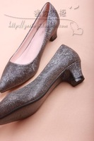2014 new style grey  and silver women shoes sexy shallow foot pointed shoes