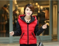 2014 Winter women's slim down cotton-padded jacket small polka dot hooded wadded jacket female short design cotton-padded jacket