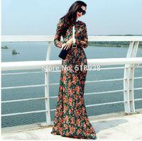 New 2014 winter women vintage fashion lace long dress patterns plus size long-sleeve brand maxi casual floor length dresses xxl