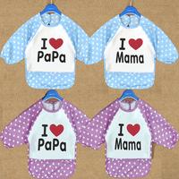 2014 New Arrive!!!Cartoon Baby Bibs Infant Waterproof Burp Cloths Kids Overclothes I Love Papa Mama Baby Clothing HTFY-001