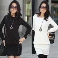 2014 women Dress new winter beaded hem dress long paragraph Slim Long sleeved t-shirt loose t-shirt women's dresses