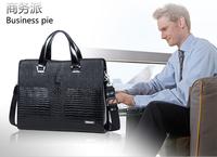 The new 2014 leather men's bags, head layer cowhide handbag, crocodile lines