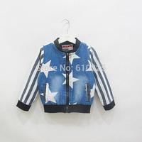 New 2014 Children Coat Long Sleeve Boys' Coat Girls' Outerwear Zipper Kids Fall Clothes Child Autumn Denim Jacket