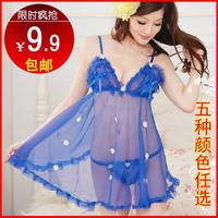 Woman seduced set plus size sexy transparent lace sleepwear 9.9