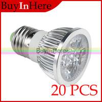 20PCS Wholesale 4W 4x1W Warm/Cool White E27 High Power Energy Saving Spotlight LED Spot Light Lamp Bulb 85V-265V AC 220v 110v