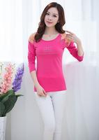 Wholesale Long sleeve T-shirt girl 2015 blusas femininas loose plus size t shirt women dropshipping S/M/L/XL/XXL/XXXL AG6772LT