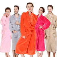 Autumn and winter flannel robe sleepwear coral fleece robe bathrobes thickening lounge Bathrobes