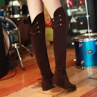 free shipping new 2014 big size suede over the knee boots for women winter boots autumn spring wedges fashion black brown