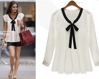 OL commuter long sleeve female Lace Chiffon shirt camisas femininas chiffon blouse women M/L/XL/XXL dropship AG6693CY