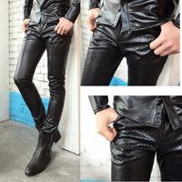 Hot New Arrival Leather Pants Korean Snakeskin Pattern Slim Trousers Casual Pants Men Nightclub Pants Free Shipping