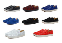 Great Promotion Fashion Flats Spikes Studs Rivets Men Sneakers Casual Sheepskin Women Shoes With Red Bottom