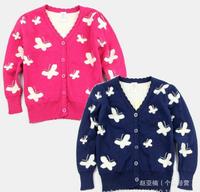 2014 new children's Autumn Winter cotton knit cardigan sweater cardigan girls butterfly pattern long sleeve sweater