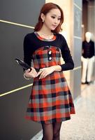 patchwork plaid dress slim Long Sleeve office dress women clothing S/M/L/XL dropship AG6705LS