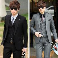 (Black&Gray)New Suit For Men Slim Business Suit Sets(Top+Vest+Pants)Formal Wedding Dress Spring Autumn Men's Outfit Supply