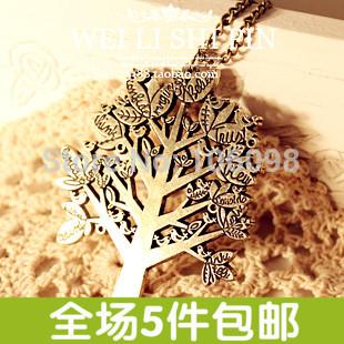 Venda quente 4057 acessórios de moda feminina do pássaro do vintage carta árvore de natal colar(China (Mainland))