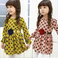 wholesael 5pcs/lot  gril's clothes prints flower long sleeve dress baby spring autumn clothes ,princess dress