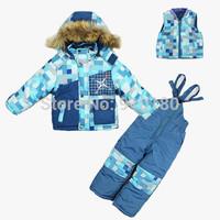 Children winter clothing set baby boy's ski suit kids windproof sets fur warm Jackets+pants+ vest 3pcs set