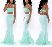 European Brand Mermaid Dress Sexy Trumpet Party Bandage Long Dress Womens Strapless Celebrity Maxi Dresses Casual Long Dress