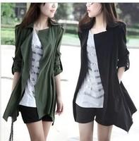 2014 Autumn women's casual windbreaker jacket large size M-XXL women Coat jacket