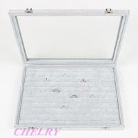 Wholesale Ice Velvet Jewellery Earring Ring Display Tray Collection Box Case 100 Holes