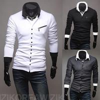 Free Shipping New unique oblique zipper Slim men's long-sleeved knit shirts US Size:XS,S,M,L  0108 NP