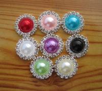 100 pcs Flat back Rhinestone Pearl Shank Round Button For Hair Flower Wedding Sewing Crafts DIY Accessory  Embellishments
