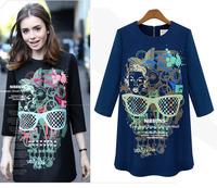 Europe autumn ladies skull head print dresses loose long sleeve bottoming casual dress women clothing S/M/L/XL dropship AG6708LS