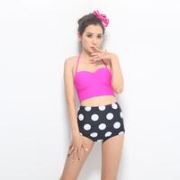 free shipping ,bikini set, swimming wear,beach wear ,high waist style, lovely design,dots moq is 1pc