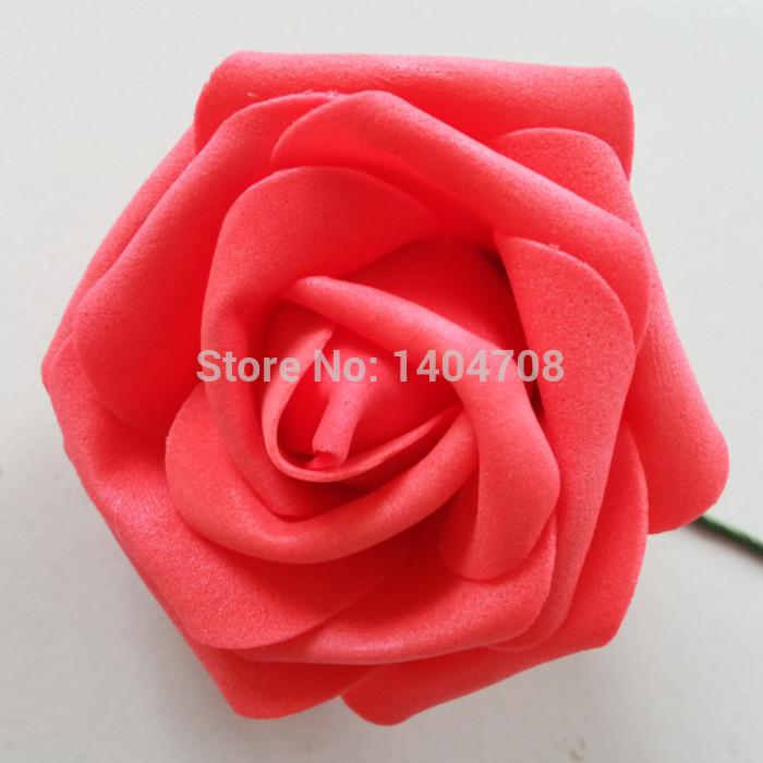 rosas de espuma pe 7cm cabeças de flor buquê de casamento festa flores home decoração floral com hastes vermelho 50 pces lotes por atacado(China (Mainland))