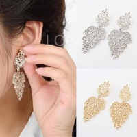 Nice Women Alloy Earrings with Hollow Out Leaf Shaped Pendant Earrings Nice  2014